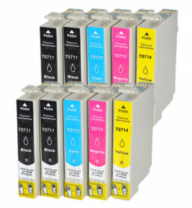 10x Tusz Do Epson T0711-0714 T711-714 14ml CMYK